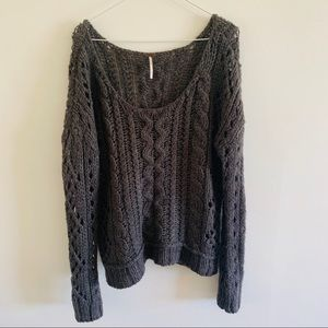 Free People thick knit gray sweater size medium